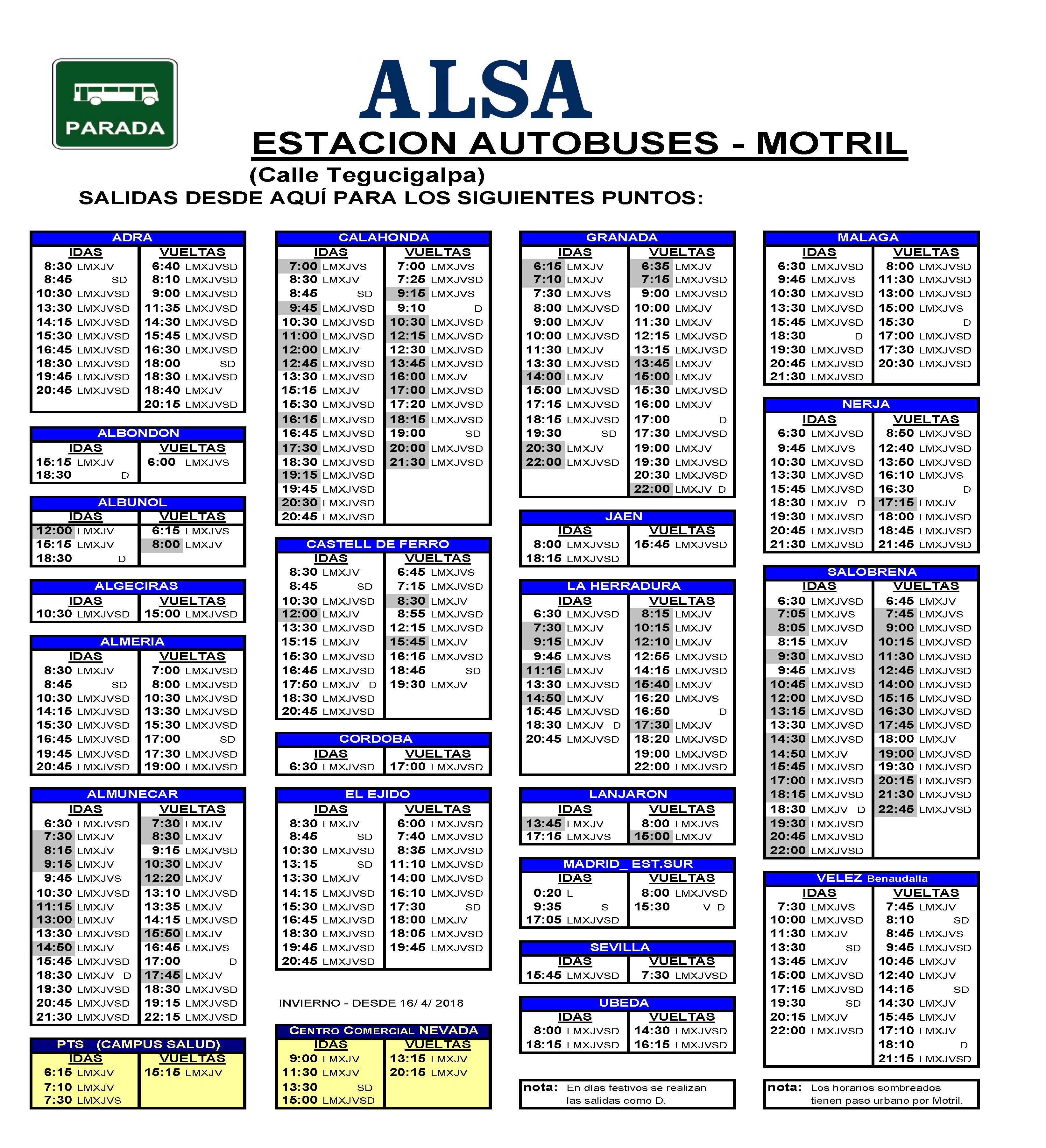 Horario de Autobuses Horarios de salidas y llegadas de las paradas de nuestros alrededores